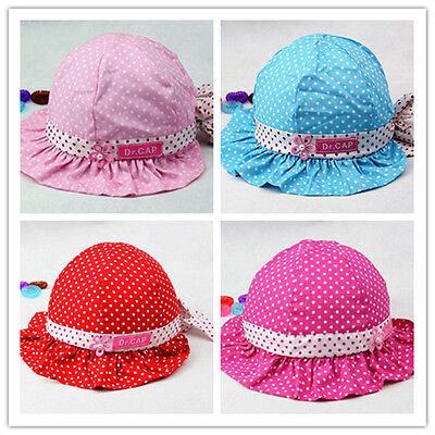 Newborn Cute Baby Girls Bowknot Polka Dots Summer Sun Cotton Hat Cap Hot Sale