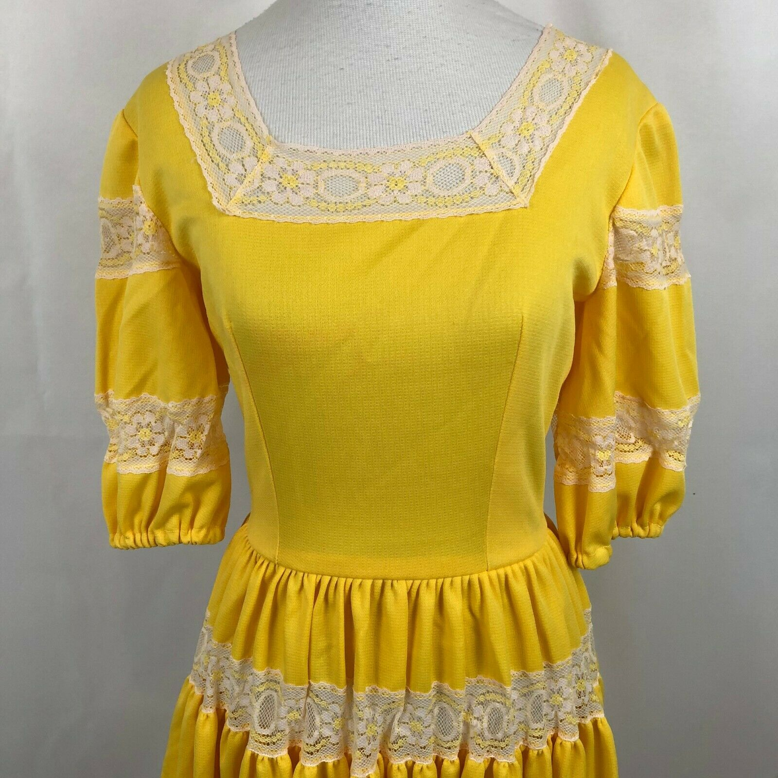 Vintage Lolita Dress Bright Yellow S/M See measur… - image 2