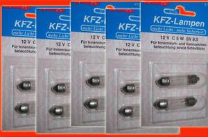 10-x-Soffittenlampe-St-1-00-Lampe-12-V-C-5-W-SV-8-5-Kennzeichenbeleuchtung