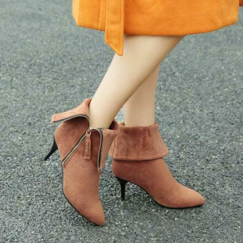 Details about  /Sexy Women Suede Fabric High Heel Pointy Toe Stilettos Ankle Boots Pumps 34//42 D