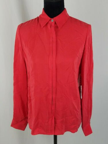 Seta Manica Donna Rosso Lunga Nascosto Con Telaio T Da Bottoni shirt 8tPwnWq65