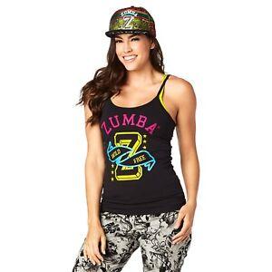 Black Zumba Fitness Womens Glow Spaghetti Tank XX-Large