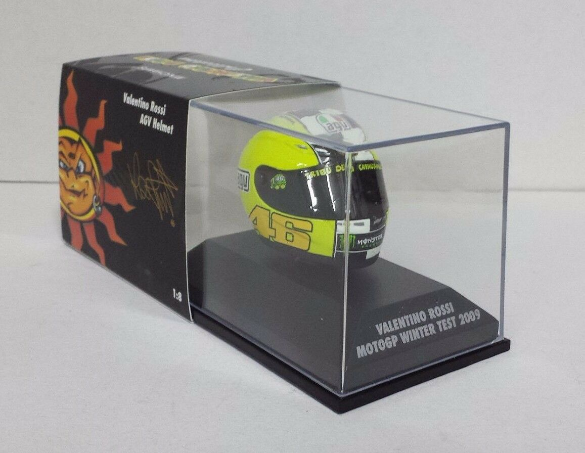 MINICHAMPS VALENTINO ROSSI MODEL AGV HELMET HELMET 1 8 MOTOGP 2009 WINTER TEST