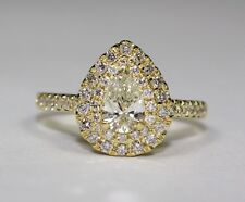 14k Yellow Gold Pear Diamond Double Halo Round Diamond Engagement Ring Size 6