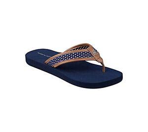 big sale sneakers order online Details about New Women's Tommy Hilfiger Ciriste X Medium Blue Dot Fabric  Flip Flops Sandals 7
