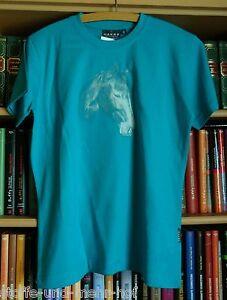 T-Shirt-mit-Pferdemotiv-034-Portrait-034-tuerkis-Gr-152