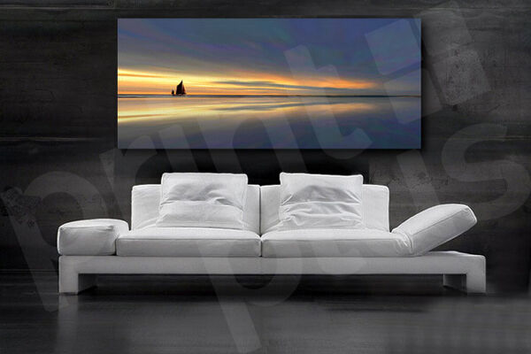 Sunset and Boat on the Lake Schön Home Wand Decor Canvas Giclee Kunst Drucken