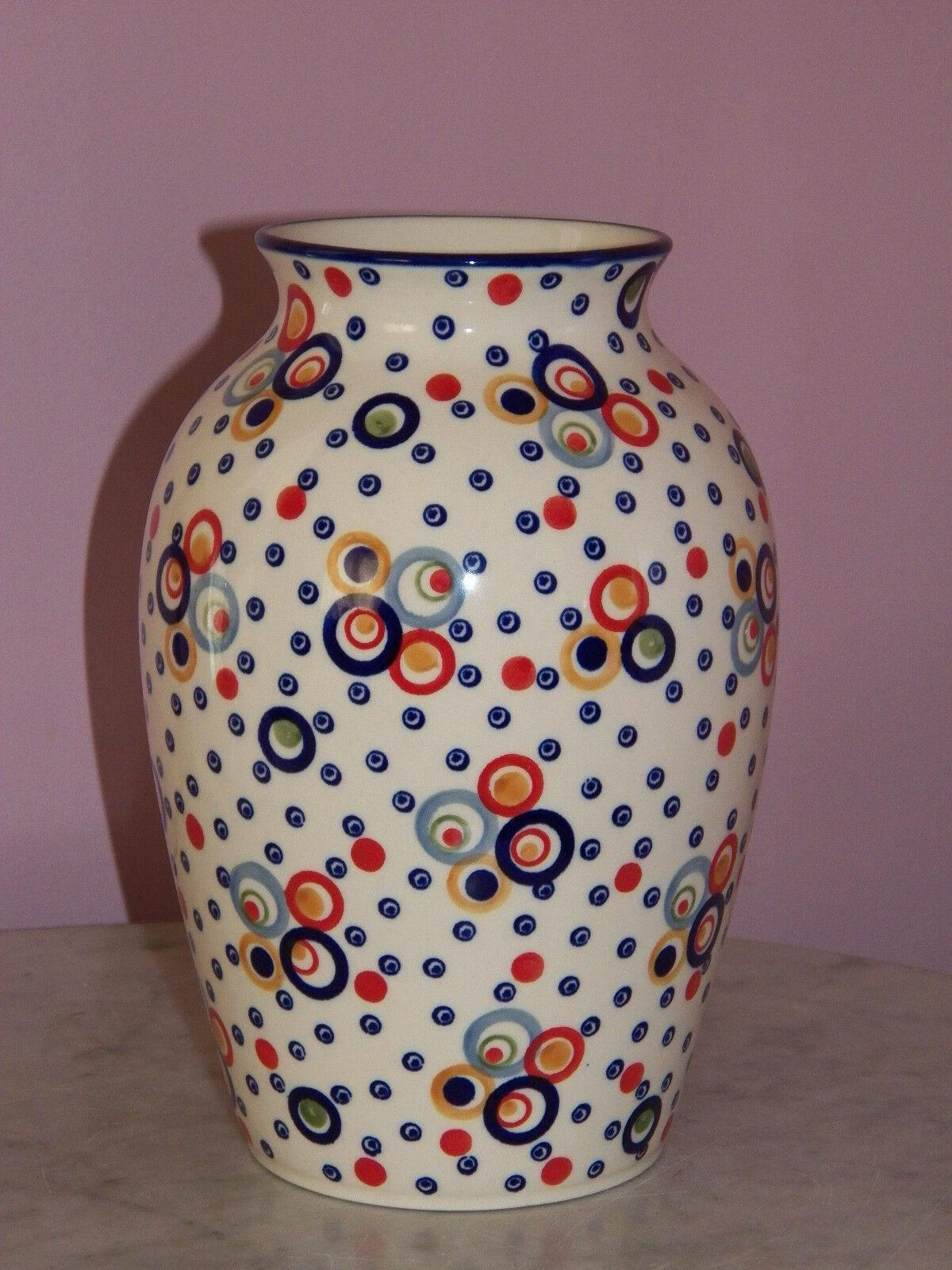 Polish Pottery 10  Folk Vase  Happy Happy Pattern