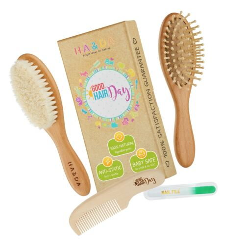 4 Piece Natural Baby Wooden Hair Brush and comb set, Free nail ... Free Shipping