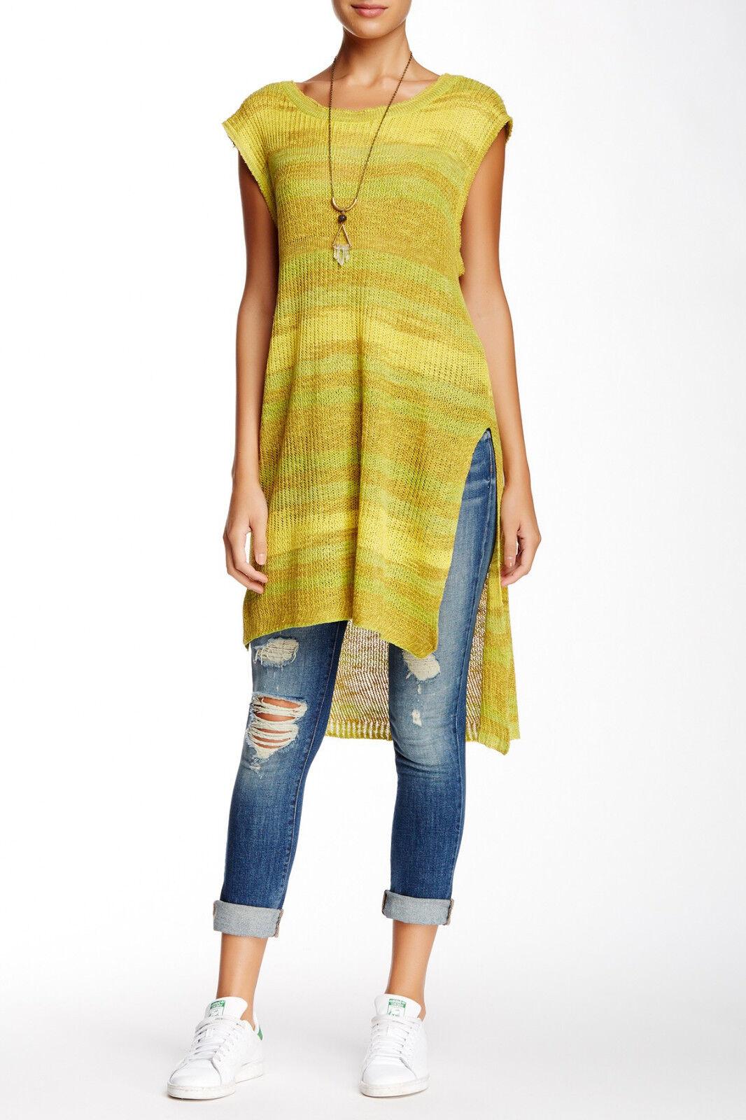 NWT  Free People Sunny Days Sweater Lemon Combo [SZ S P Small]
