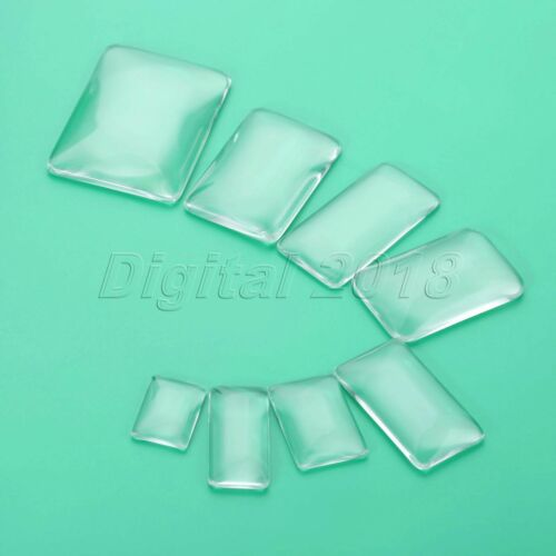 8 Size Transparent Rectangle Glass Cabochons DIY For Making Jewelry Pendants