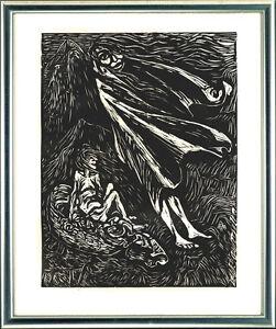 Ernst-Barlach-1870-1938-Holzschnitt-Woodcut-Hexenreise-Witch-039-s-travel-1923