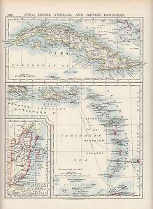 1897 VICTORIAN MAP ~ CUBA LESSER ANTILLES & BRITISH HONDURAS HAITI