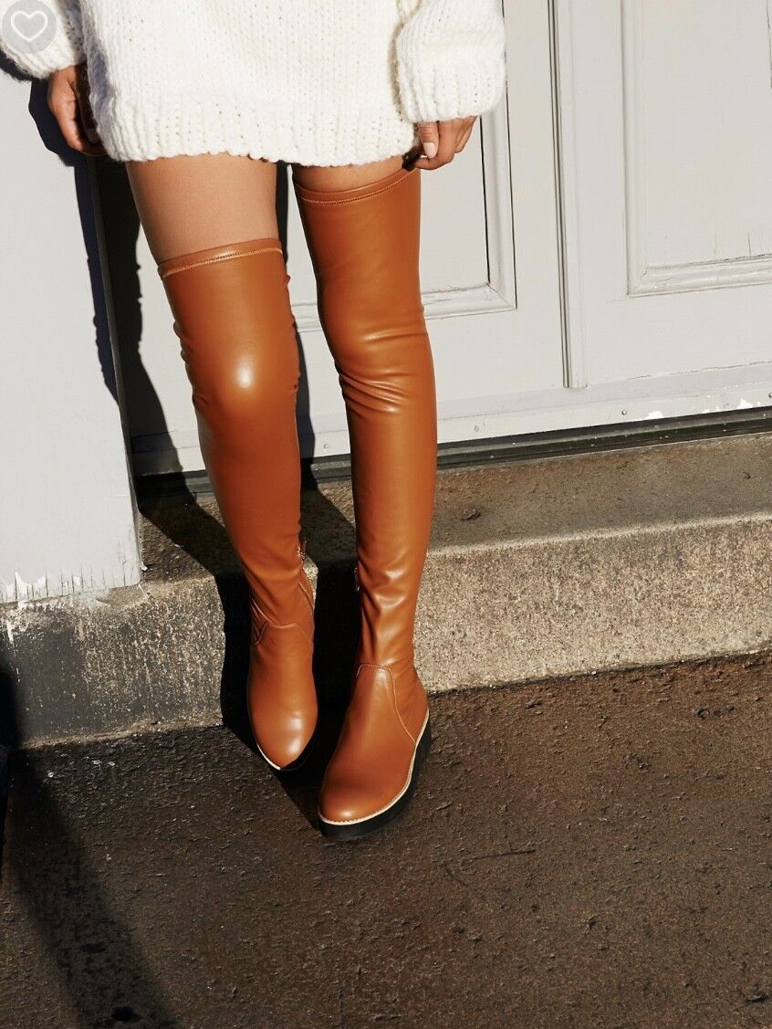 NEW Silent D tan Vegan Leather Over Knee Bought at Free People Boot 39  8-8.5