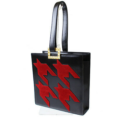 CELINE Houndstoot Shoulder Hand Bag Black Red Leather Italy Vintage Auth 5700 M