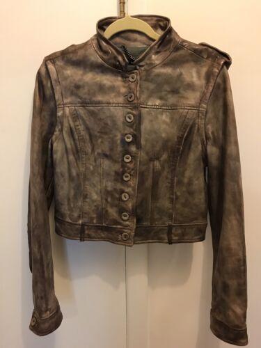 12 Removable Vest Sleeves Us Nwt Læder Muubaa 8 Crop Biker Brown Jacket UK 6xpOwa7