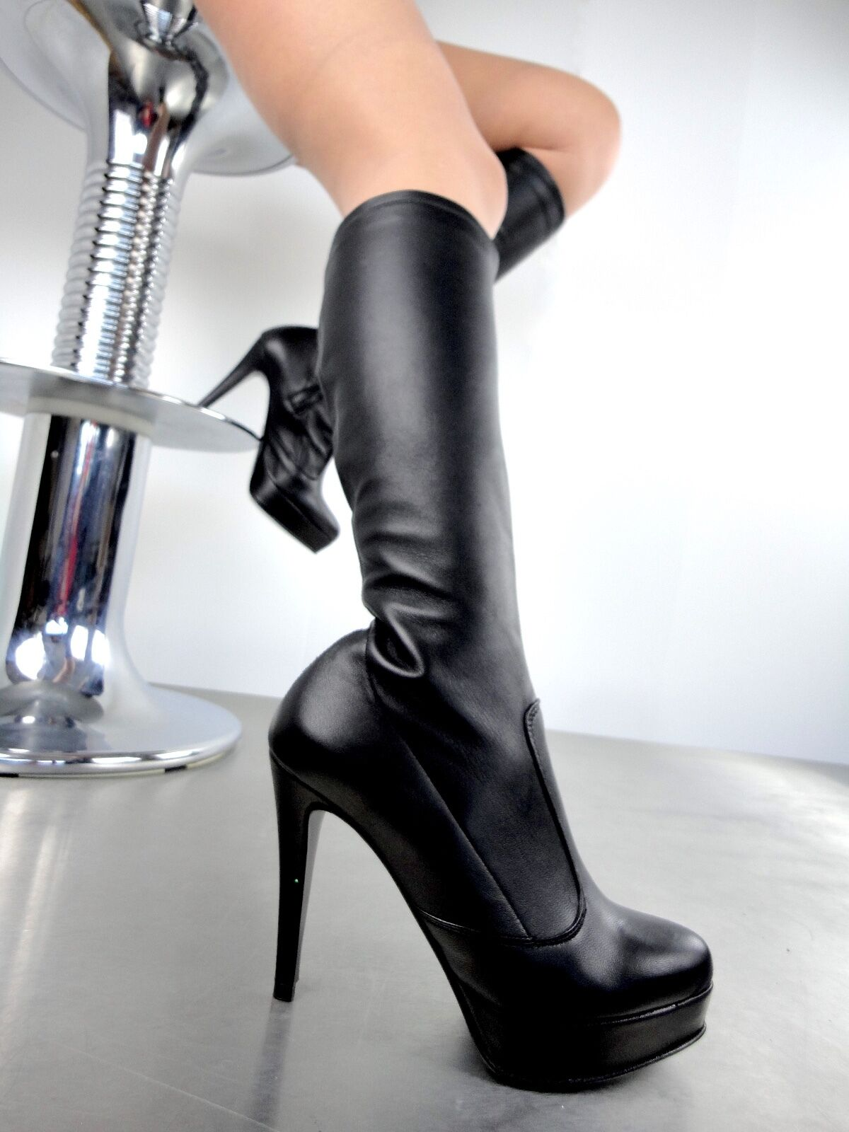 GIOHEL 2.5CM PLATFORM KNEE HIGH HEEL BOOTS STIEFEL STRETCH BLACK LEATHER 35