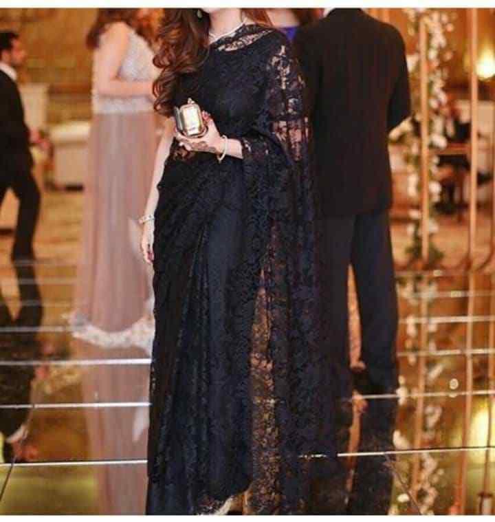 chantilly French lace saree designer indian bollywood silk blouse black net sari