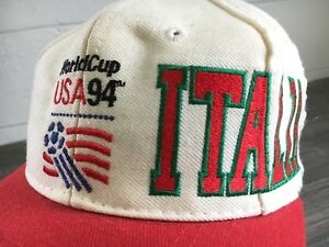 acad7f854b4 World Cup 94 Hat Vtg 90s USA Italia Snapback Soccer Football Sewn ...