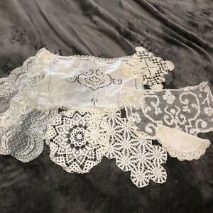 Vintage Antique Lace and Hand Crocheted Doilies Lot of 7 Ivory Fine Needle Asst