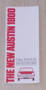 AUSTIN 1800 Car Colour Finishes Chart c1964 #2269
