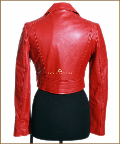 5625 Missy Red Cropped Ladies Biker Real Lambskin Leather Short Jacket