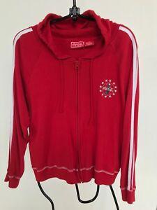 Vintage-Coca-Cola-Logo-Hoodie-Red-Full-Zip-Women-Junior-Large-Size-Gently-Used