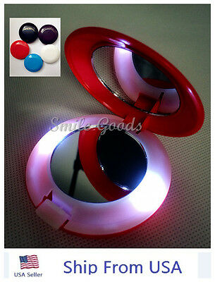 Make Up Cosmetic Folding Portable Compact Pocket with Light LED Mirror USA