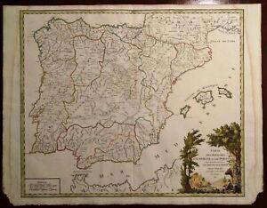 Cartina Spagna Antica.Carta Geografica Antica Spagna Portogallo Spain Portugal Vaugondy 1757 Old Map Ebay