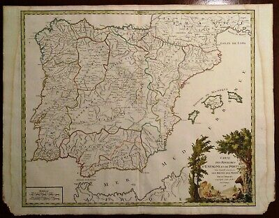 Cartina Spagna Politica Da Stampare.Carta Geografica Antica Spagna Portogallo Spain Portugal Vaugondy 1757 Old Map Ebay