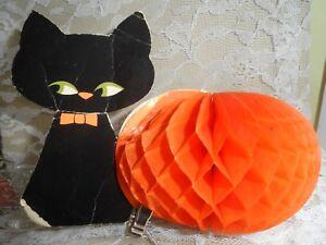 Vintage-Halloween-Decor-HONEYCOMB-PUMPKIN-amp-BLACK-CAT