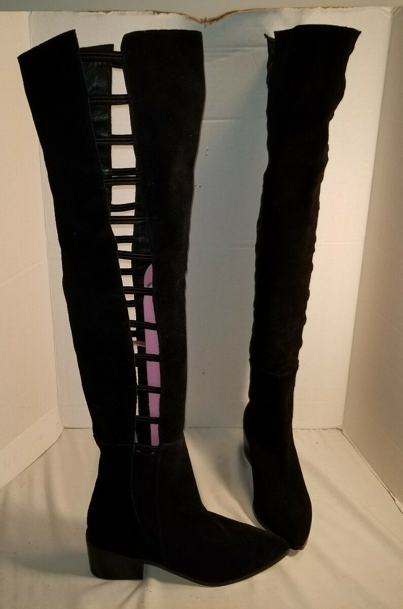 NEW FAYRLROBIN BLACK SUEDE LADDER OVER THE KNEE BOOTS WOMENS US 8
