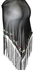 BLACK Tribal Belly Dance Dancing Burlesque Flamenco Hip Scarf Shawl Fringe Belt