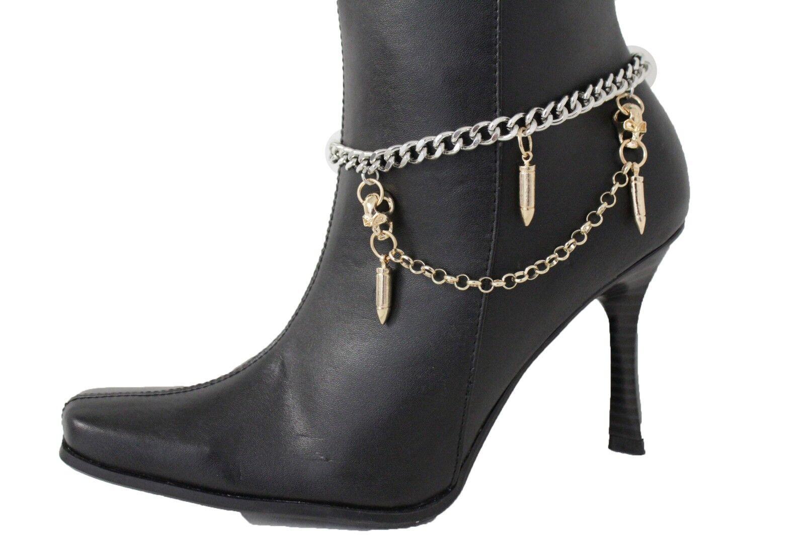 Sexy Women Silver Metal Chain Boot Bracelet Anklet Shoe Charm Gold Bullet Skulls