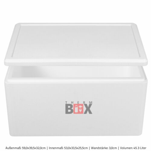 Therm-Box Styroporbox 45W Innen:53x33x25cm Weiß Isolierbox Thermobox Kühlbox
