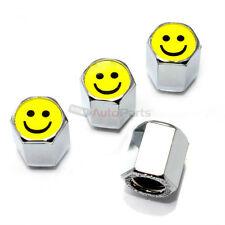 (4) Smile Happy Face Logo Chrome ABS Tire/Wheel Stem Pressure Valve CAPS Covers