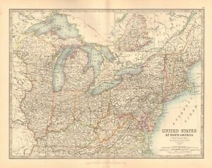 1891 Antique Map United States North Eastern Washington New