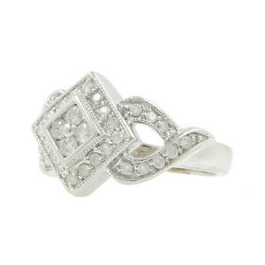 Ladies Vintage Classic Estate 14K White Gold Diamond Ring Band - 0.55CTW