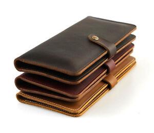 Long Handmade Genuine Leather Men's Wallet Bifold Purse Credit Card
