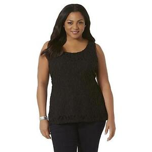 Simply-Emma-Womens-Plus-Floral-Lace-Tank-Top-Black-Size-1X-New-W-Tags