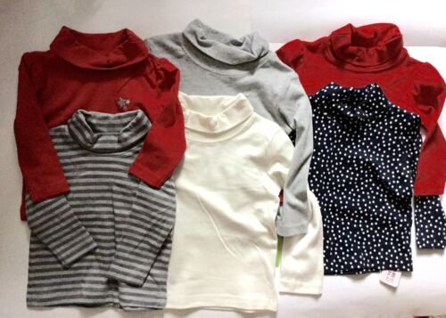 Polo Neck Cotton Long Sleeve Tops 1 X Ivory /& 1 X Grey Boy 2 pack Roll Girl