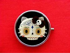 HELLO SUGAR SKULL KITTY CAT DIAMOND ROUND METAL PILL MINT BOX