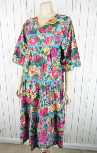 Vintage 80s 90s Star of India Floral Cotton Tiered