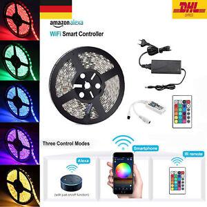 5m-LED-RGB-RGBW-Stripe-Strip-Streifen-Band-SMD5050-WIFI-Controller-Netzteil-IP20