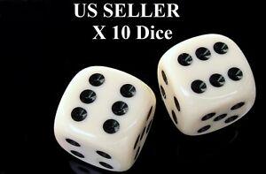 Conjunto-de-10-cuadrados-Seis-Caras-Opaco-Dados-16mm-D6-Blanco-con-Negro-Pip-Die