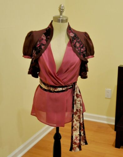 Gucci Silk Print Floral Ruffled Blouse Shirt Top … - image 1