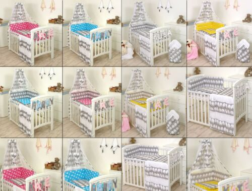 ELEPHANT-PINK-BLUE-YELLOW-GREY BABY BEDDING SET COT or COT BED  3,4,5,7,8,9 PC