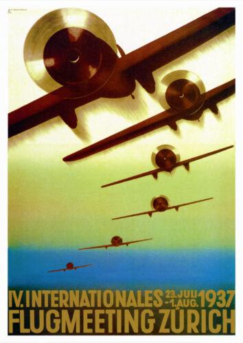 Vintage Art Deco Swiss Aviaton Poster 1937 IV International Airshow Zürich Retro