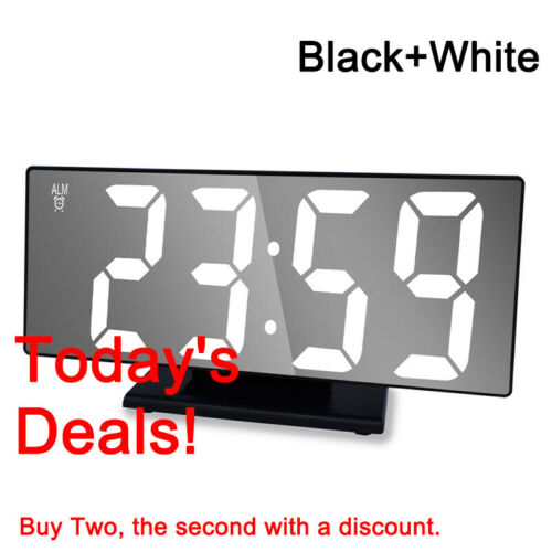 Digitaler Wecker LED Spiegel Tischuhr mit Snooze Temperatur Datum Standuhr Alarm