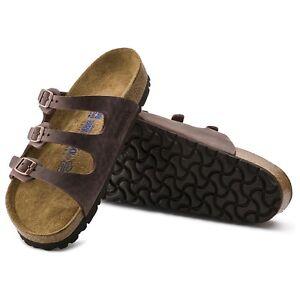 Birkenstock-FLORIDA-Ladies-Women-039-s-Buckle-Leather-Habana-SoftBed-Summer-Sandals